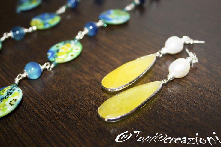 #orecchini in agata e perle di fiume con perno in #argento #toniacreazioni