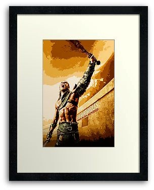 Spartacus Gladiator Warrior war of the damned art painting Framed Prints, Poster Or Card