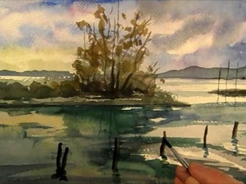 "Waterside painting in watercolour. Watercolour painting. Paint Side of lake. Landscape in watercolour. Fine Art.<br />Music used: Setting Sail by Machinimasound.com<br />Licensed under Creative Commons CC-BY 3.0 Unported License | <a href=""https://machinimasound.com/license"" target=""_blank"" rel=""nofollow"">https://machinimasound.com/license</a><br />FACEBOOK: <a href=""http://www.facebook.com/vamossart"" target=""_blank"" rel=""nofollow"">http://www.facebook.com/vamossart</a><br />By Vamos, 2013…"