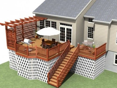 trellis and small pergola on one side of deck for more privacy climbing vines - Patio And Deck Ideas