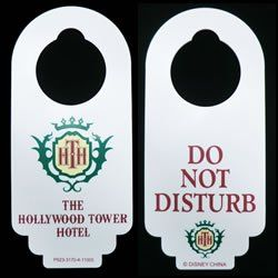 Disney Tower of Terror Hotel (Hollywood Tower Hotel) Do Not Disturb Door Hanger