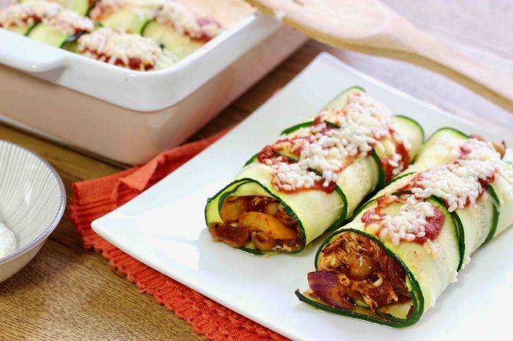 Courgette enchiladas met pulled chicken en kikkererwten