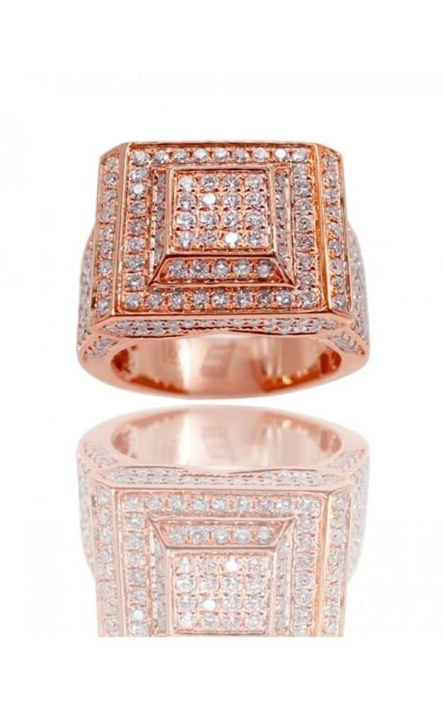 c7eb528201ea0 Solid 10K Rose Gold Diamond Pinky Ring Mens Round Square Pave Band ...