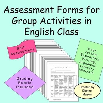 $ This packet of assessment forms is handy for group activities and peer editing. Included are forms for evaluating group work on a daily basis, a self-evaluation form so students can rate their own performances, a rubric for grading group presentations, and guidelines for peer evaluation of essays.