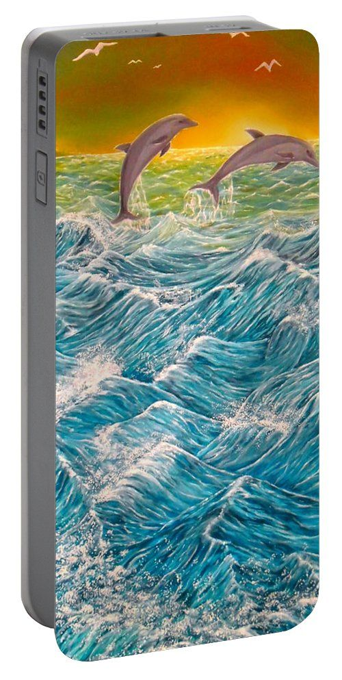 Portable Battery Charger,  blue,turquoise,cool,beautiful,fancy,unique,trendy,artistic,awesome,fahionable,unusual,accessories,for,sale,design,items,products,gifts,presents,ideas,dolphins,ocean