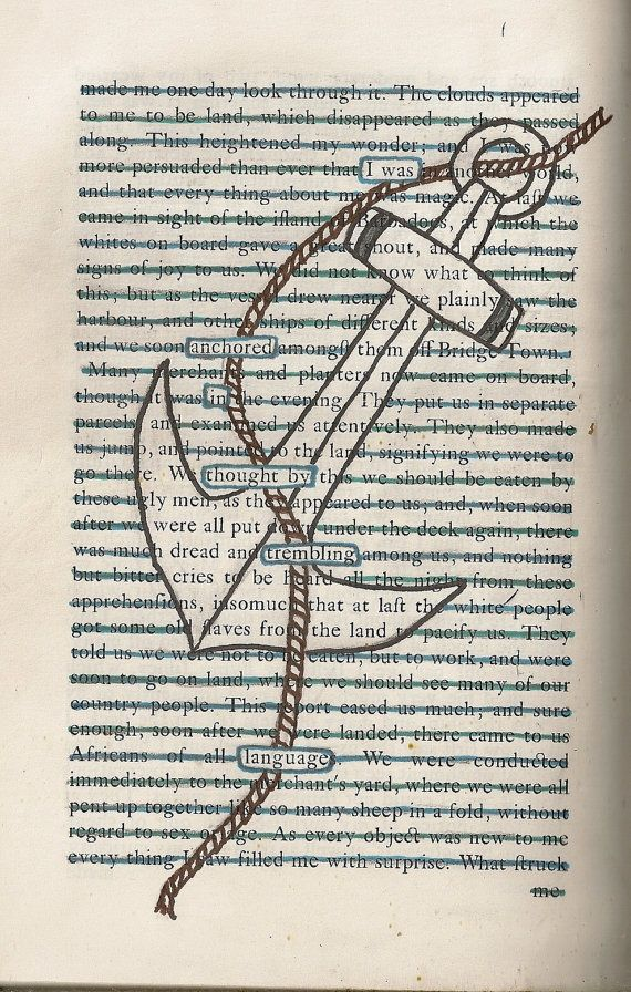 Found Text Blackout Poem 'Anchor' on A5 Greeting Card