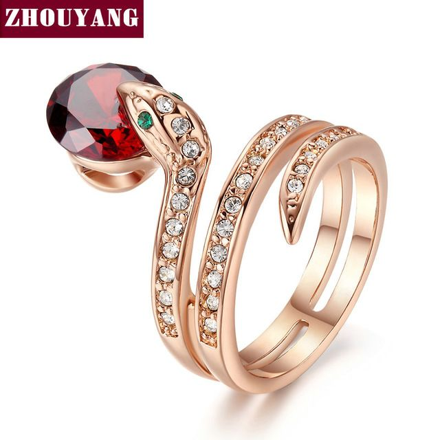 ZHOUYANG Top Quality ZYR150  Snake Show Bead Ring  Gold Plated  Austrian Crystals Full Sizes Wholesale