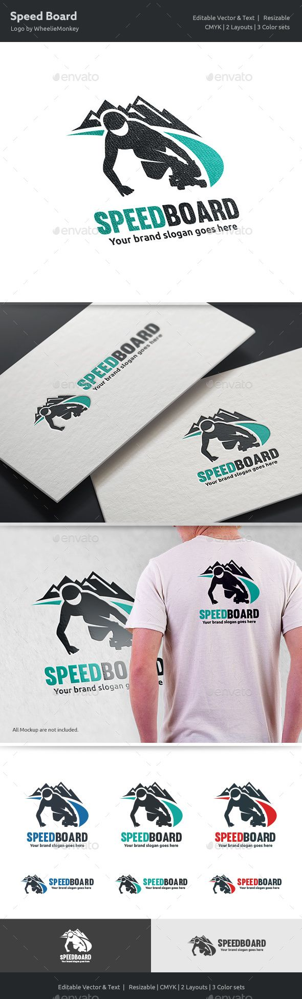 Speed Board Logo  — EPS Template #slope #curve • Download ➝ https://graphicriver.net/item/speed-board-logo/18422998?ref=pxcr