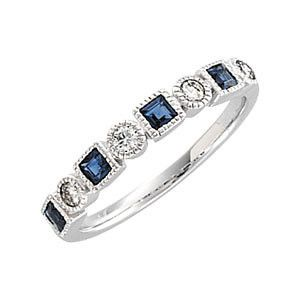 Diamond and Blue Sapphire Eternity Band - Sissi