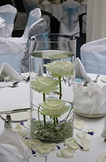 Submerged flowers for centerpieces.