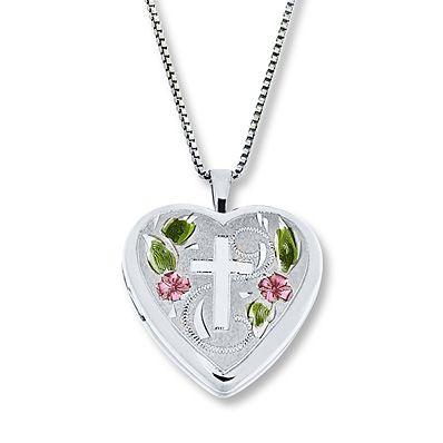 Floral Cross Locket Enamel Accents Sterling Silver