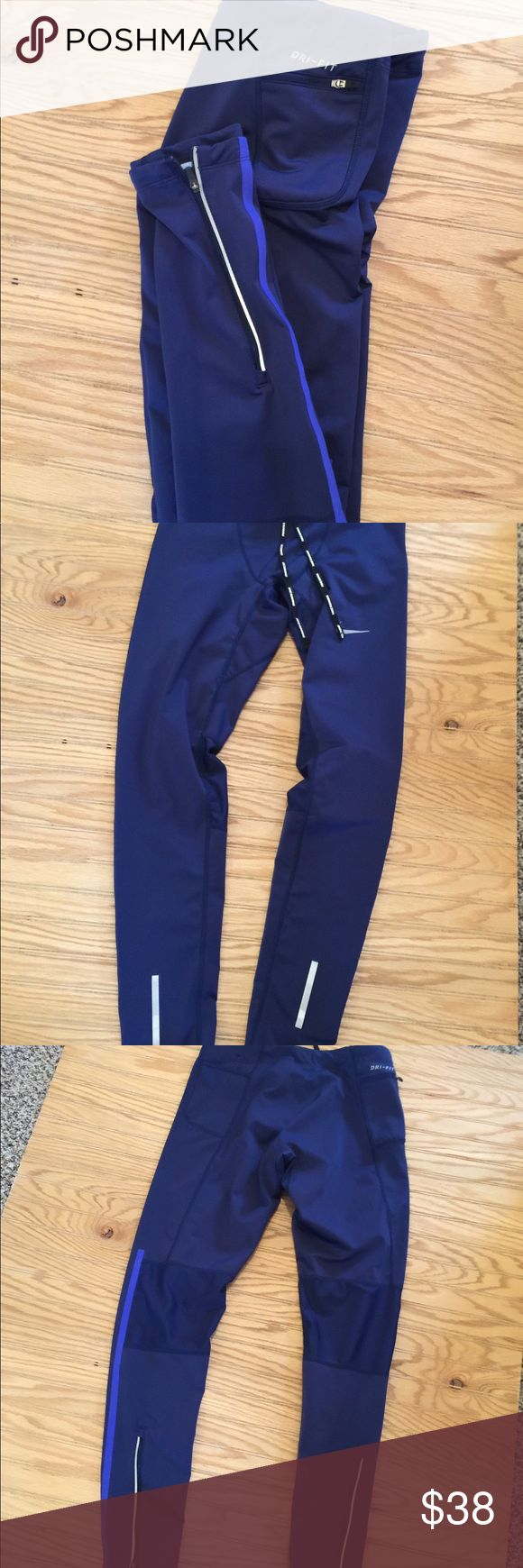 Men's Blue Nike Running Pants M Excellent clean condition authentic no stains or defects  Mesh back of knee zip Ankle Nike Pants Sweatpants & Joggers