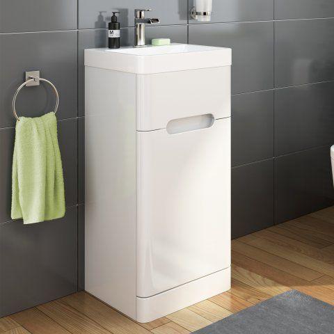 400mm Tuscany Gloss White Single Door Basin Unit - Floor Standing