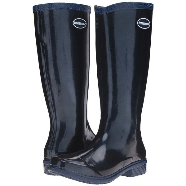 Havaianas Galochas Hi Metallic Rain Boot (Navy Blue Metallic) Women's... (265 BRL) ❤ liked on Polyvore featuring shoes, boots, knee-high boots, metallic boots, navy blue knee high boots, navy blue boots, low heel boots and wellington boots