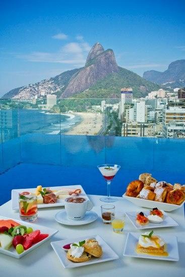 Cafe da manha na cobertura do Praia Ipanema Hotel