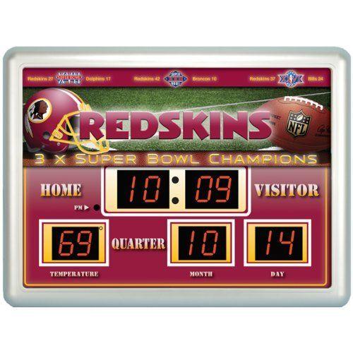 NFL Washington Redskins 14x19 Inch ScoreBoard-Clock-Thermometer by Team Sports America. $79.99. NFL Washington Redskins Scoreboard