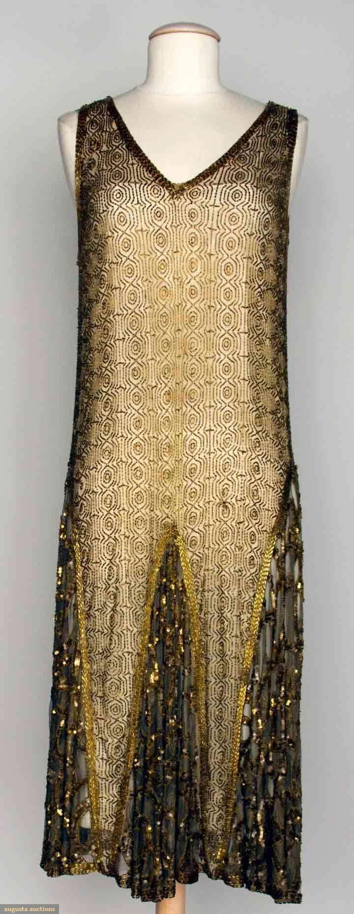 "Beaded Dance Dress, 1920s, Augusta Auctions -- Beige net w/ allover geometric pattern in gold beads, gold sequin trim, B 34"", H 38"", L 45"""