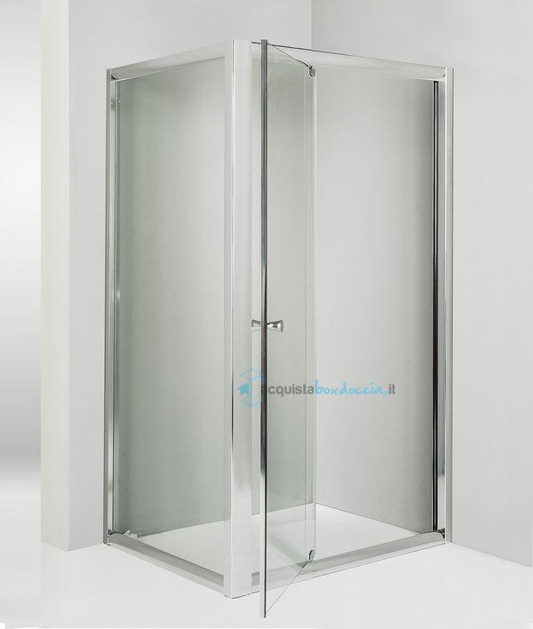 Box doccia angolare anta fissa porta battente 75x80 cm