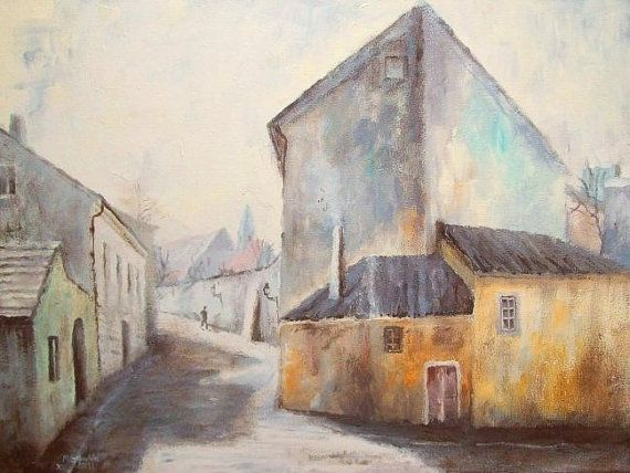 ARCHITECTURE Painting, Novy Svet in Prague - Fine Art GICLEE PRINT after an original painting by Milena Gawlik