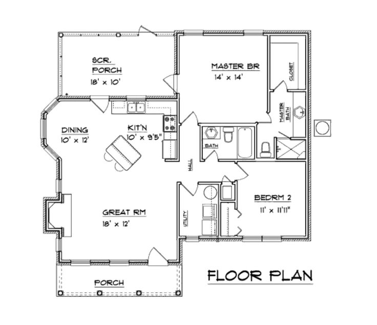 Colonial style house plan 2 beds baths 1094 sq ft Open floor plans for colonial homes
