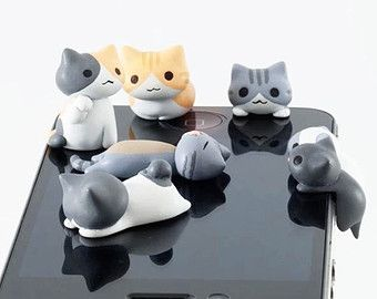 6 Kinds Adorable Yellow Grey Sweet Kitten Cat Kitty Dust Plug 3.5mm Phone Plug iPhone 4S 5 5S Dust Plug Samsung Charm Headphone Jack Ear Cap