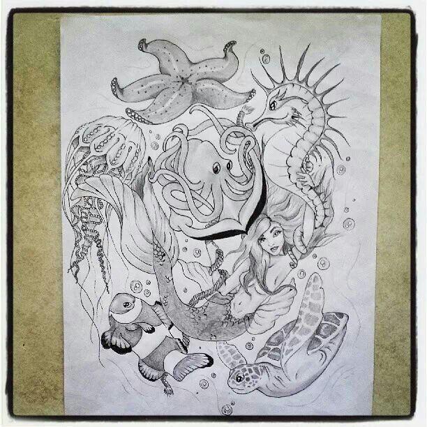 Starfish, jellyfish, octopus sea horse , turtle , mermaid , Nemo, tattoo 1/2 sleeve design by Chelsie haeg -sea creatures-