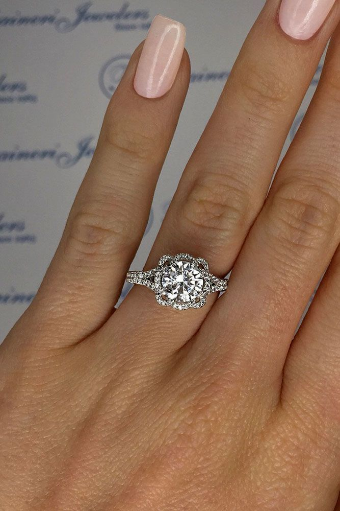 24 TOP Engagement Ring Ideas ❤️ top engagement ring ideas floral round cut diamond split shank ❤️ See more: #wedding #bride