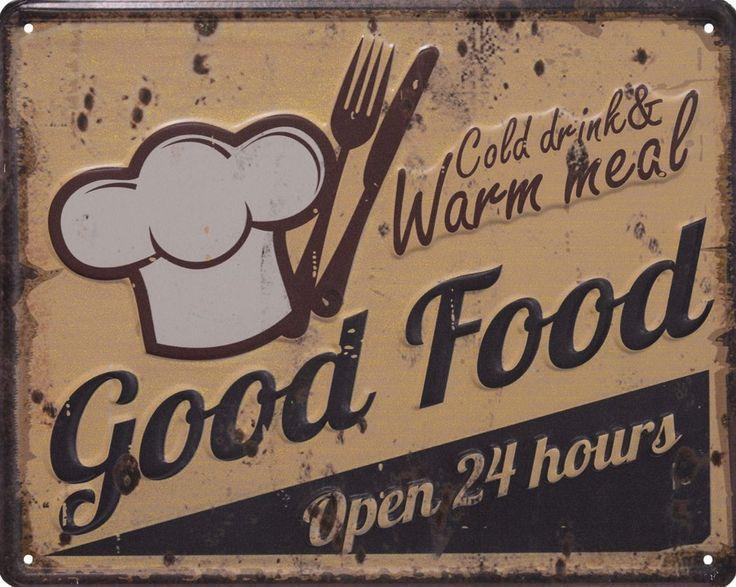 METALEN BORDEN : Good Food Open 24 Hours 3D metalen bord