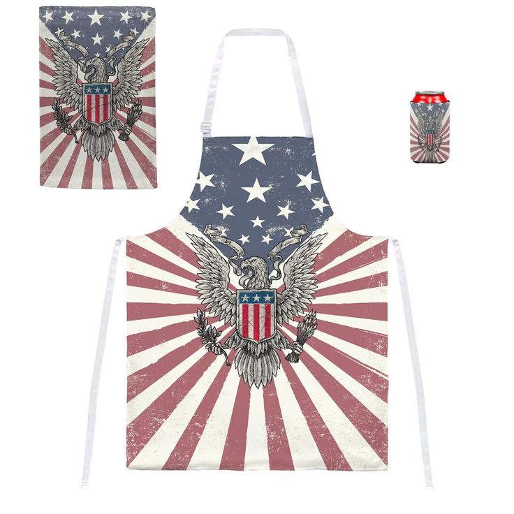 4th of July Born Free Distressed American Eagle Grill Set