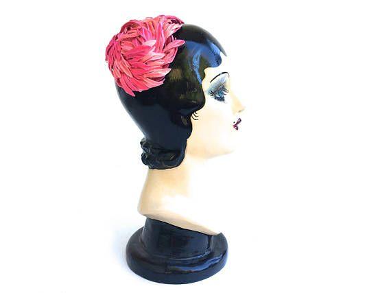 Vintage Floral Fascinator Hat~ Hot Pink 1950's Wedding, Velvet Petals- Half Hat Vintage Women's Accessories Hat ~Spring