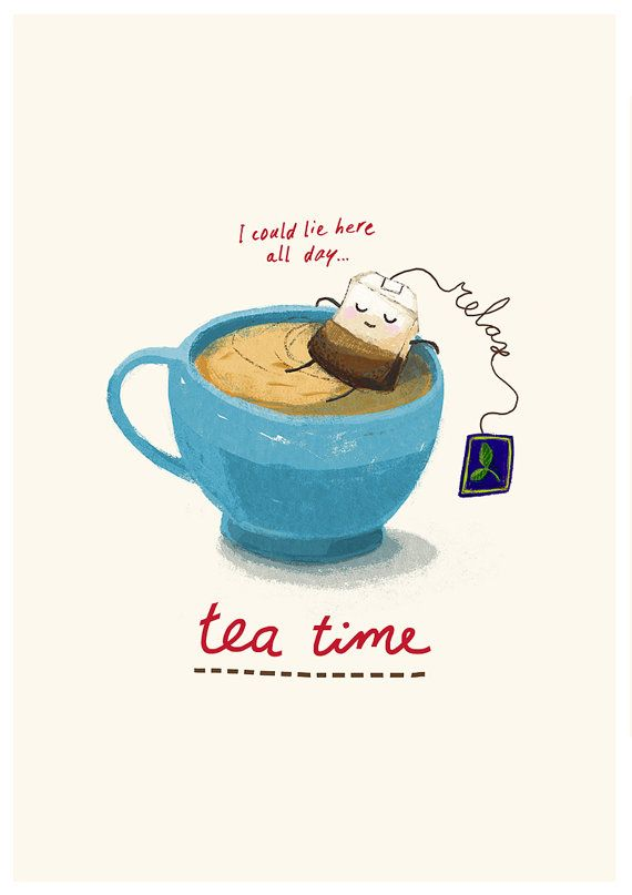 Relax it's Teatime sketch digitally coloured Art by puikeprent