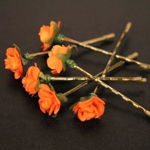 Orange paper flower brass bobby pins