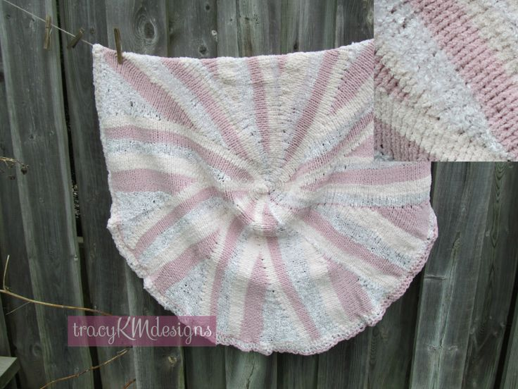 """This circular blanket is a wonderful concoction of various pink shades and many soft, silky, chenille textures.  Generously sized at 38"""" across"""