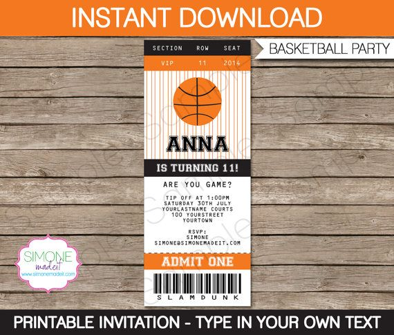 Basketball Party Invitations & Decorations Full by SIMONEmadeit