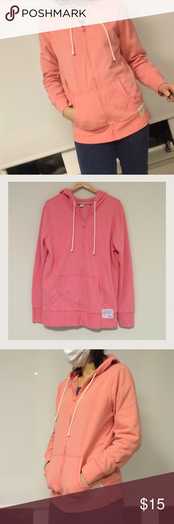 Old Navy Hoodie Salmon Pink fleece hoodie. Very comfy you can wear all year along. Size L but feels like size M. Gently used. Old Navy Other