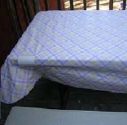 "Pieces of PVC pipe to hold tablecloth to a picnic table. <3 our pins?  Then ""LIKE"" us at https://www.facebook.com/bound4burlingame and get camping tips on your Fbook newsfeed."