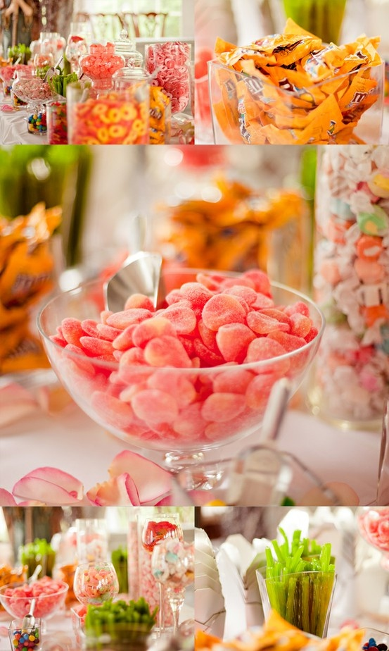 Candy buffet. so cute! peach rings and watermelon sour patch- love the acid green licorice