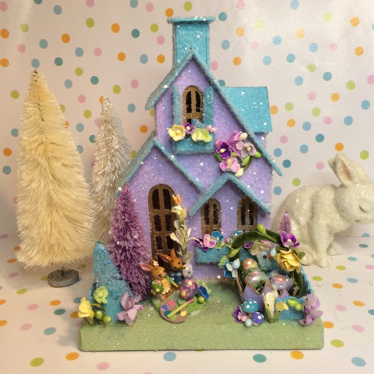 Putz Easter Cottage(Medium)Glitterhouse Aqua and Pale Orchid with Bunnies Decorating Eggs by glitteratmidnight on Etsy https://www.etsy.com/listing/596483009/putz-easter-cottagemediumglitterhouse