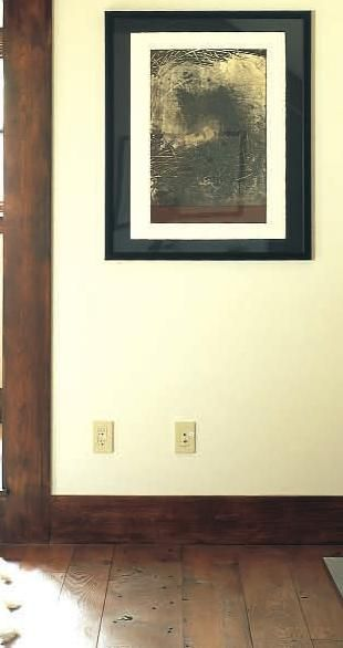 wWood floors with wide wood baseboards and door frame