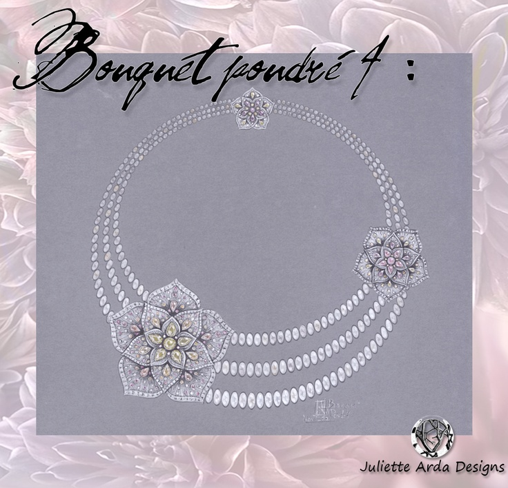 necklace diamants, saphirs fancy et perles , gouaché, juliette arda
