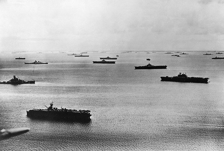 War History Online    USS Enterprise (RH Side) ,a South Dakota class battleship ,and two Iowas lie at anchor in late 1945.