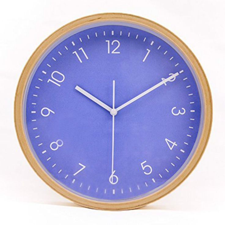 hippih silent wall clock wood 8 inches non ticking digital quiet sweep decorative vintage wooden - Feldstein Kaminsimse