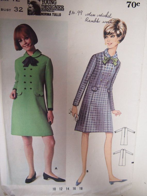 Vintage 1960s Butterick Mini Dress Size 12 by VintageTwistsPattern, $10.00