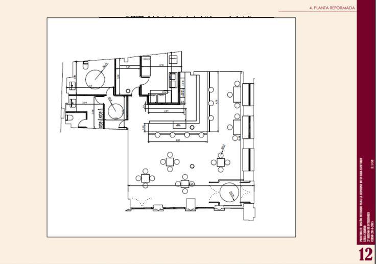 """Planta acotada del diseño realizado para la reforma planteada para el bar """"PIYAMA"""". Realizado con AutoCad."""