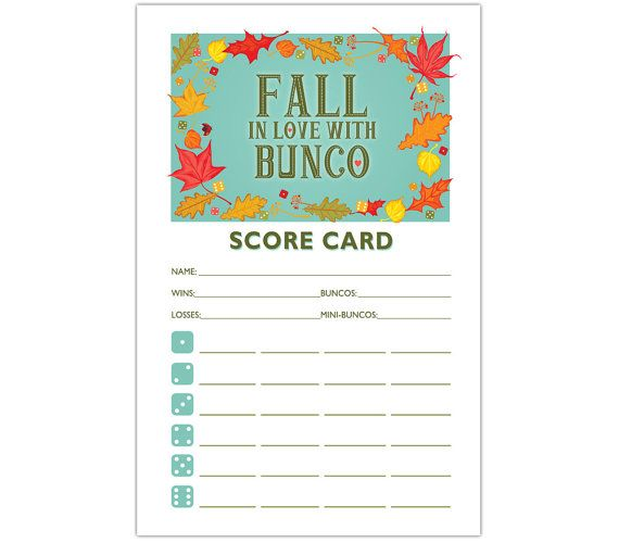 photograph about Printable Bunco Cards identified as Drop within Enjoy with Bunco - Printable Autumn Bunco Ranking and