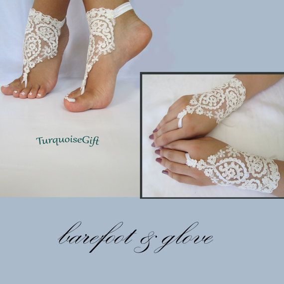 Free shipping Wedding barefoot sandals& gloves by TurquoiseGift