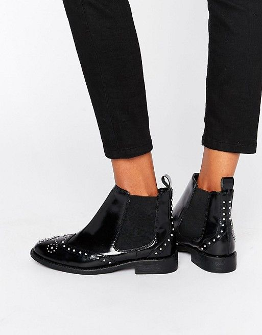ASOS | ASOS ANDELE Leather Studded Chelsea Boots
