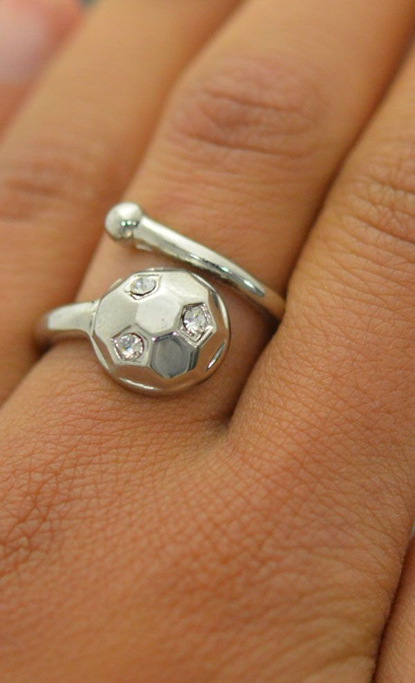 Look how beautiful this silver soccer ball ring looks on! The cubic zirconium gems catch the light to keep the ring shining bright! Want to propose to soccer? Then give this ring as a soccer gift today!