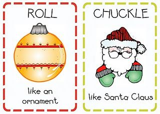 Christmas moving activity ' chuckle like Santa clause', 'twirl like a snowflake' etc