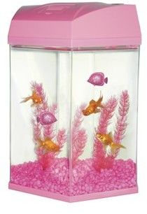 Fish R Fun Hexagon fish tank 27.6 litre pink includes filter, lights ornament, gravel and plant 20% off recommended price.